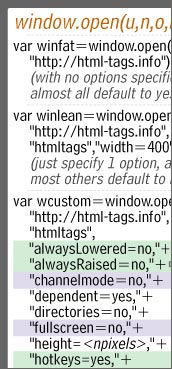 window.open() options
